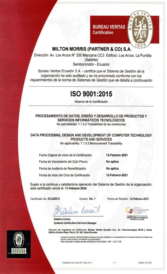 CERTIFICACION ISO 9001 2015 MILTON MORRIS